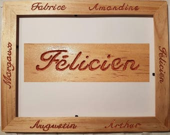 Personalized wooden photo frame, calligraphy and engraved