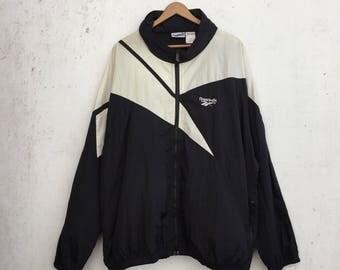 Vintage 90s REEBOK Big Logo Black White Hidden Hoodie Windbreaker Extra Large Size #717