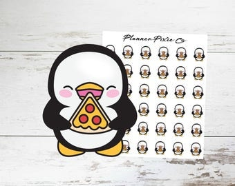 Penguin Planner Stickers // Pizza // Cheat Day