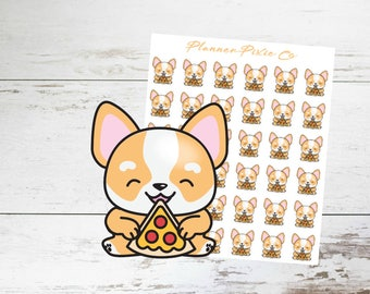 Corgi Planner Stickers // Pizza Night // Cheat Day