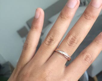 Thin rings pink zirconia ring