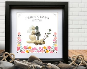 Wedding Pebble Picture Personalised Gift - Vintage Boho Wedding - Pebble and sea glass. Bride & Groom. Love. Flowers. Boho, Shabby Chic