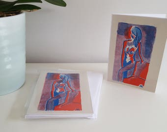 Woman risoprint card pack