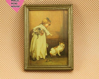 Dolls House Miniature Gold Frame Child and Pet Picture