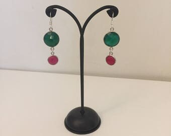 925 silver earrings with green agate and ruby Root