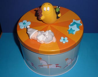 Sublime baby polymer box and its cotton candy. Birth, birthday gift, baptism...