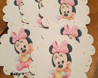 12 Disney Inspired Baby Minnie Mouse Cupcake Toppers...your choice!