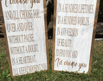 I'd choose you, wood sign, love wedding home decor