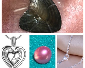 1 BUBBLE GUM PINK pearl inside oyster, comes with heart cage pendant and chain