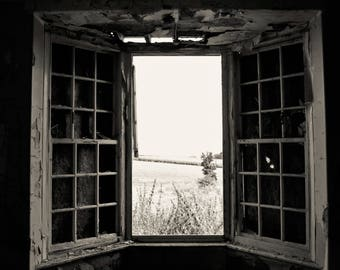 Black & White shot of view out of decaying window