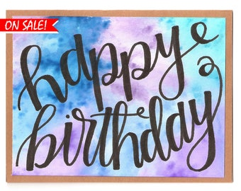 Happy Birthday, Thinking of You, Blue and Purple Tie-Dyed Cursive, Handmade Card, Free Shipping