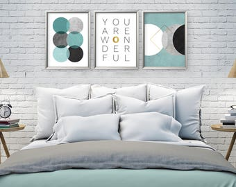 Beautiful Print Set, Bedroom Wall Art, Set Of 3 Prints, Wall Art Set,