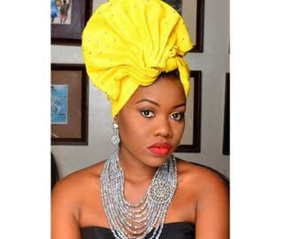 Yellow Soge Gele Embellished With Silver Beads