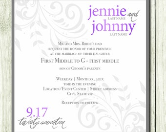 Custom Wedding Invitation - Purple and Gray - Square - Classic
