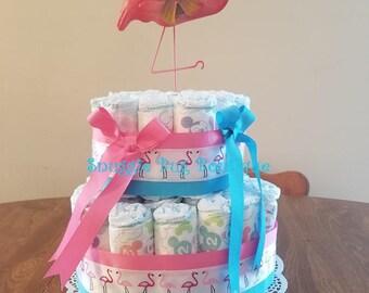 Pink Flamingo Diaper Cake