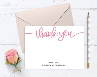Custom Thank You Card - Digital File, Printable Card, 5x7, Postcard, Wedding Thank You Card, Multiple Color Options Available
