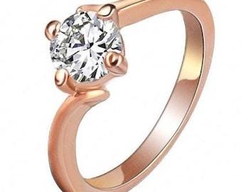 Crystal ring rose gold
