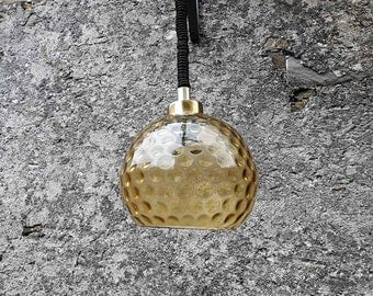 Vintage Mid Century Glass Ceiling Lamp / Gold Yellow Blown Glass Pendant Light / 70s