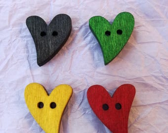 4 x Wooden Heart Buttons - for Crafts - Wood Backs - Assorted Colours
