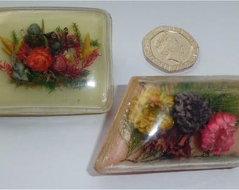Vintage 1930's Art Deco Dried Flower Brooches