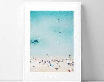 beach poster/beach summer photo/sea ocean print phtograph/cool summer parasol coastal photo/sandy beach poster illustration/summer vacation