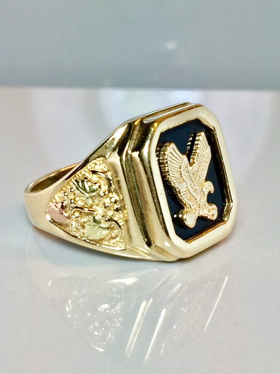 Men S Black Hills Gold Ring Men S Eagle Rings