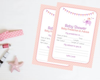 Pink Baby Girl Prediction Cards - Baby Shower Game 20 Players - High Quality Card