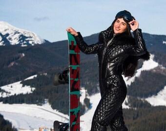 Winter Skisuit Snowsuit Ski Suit Overall Black Wet Look Gloss Shine Nylon Leather Womens Skioverall Winteranzug Skianzug Glanznylon Damen