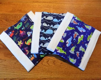 Set of 3 Under the Sea Burp Cloths - Baby Shower Gift