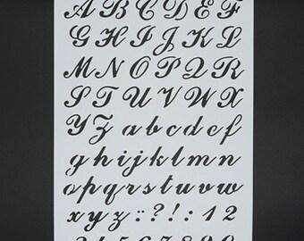 Elegant Cursive Alphabet Letter Number  Spray Stencil