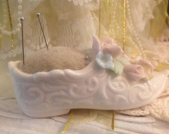 Vintage Porcelain Shoe Pin Cushion With Attached Flowers