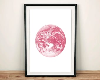 Earth Print, Earth Poster, Earth Wall Art, Pink Decor, Pink Print, Pink Poster, Minimalist Decor, Planet Earth Printable, Instant Download