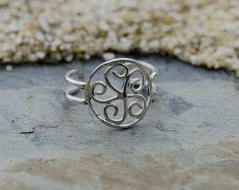 Spiral ring with 5 petals in silver - KkumArt