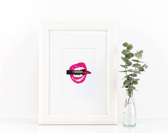 Lips Biting Lipstick Printable Minimalist Art Printable
