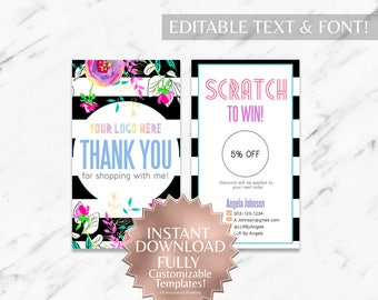 Instant Customizable Floral Striped Fashion Consultant and LLR Scratch Off Card Template