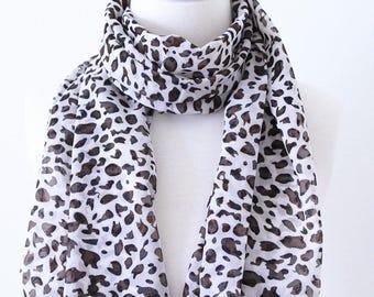 Soft Elegant Long Wrap Scarves / Black, Brown and White / Natural Leopard Print Spring Summer Scarf / Women Scarves