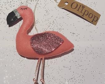 Flamingo felt decoration