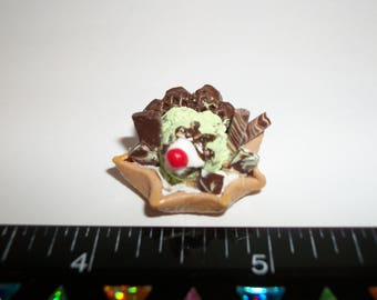 Dollhouse Miniature Handcrafted Mint Chocolate Chip Ice Cream Waffle Bowl Dessert Food for the Doll House 1227