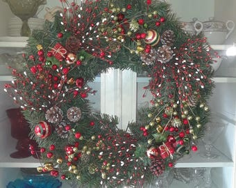 """Christmas Wreath with bells and balls est 22"""""""