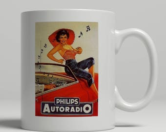 Philips car radio pin up girl advertising poster printed on a new ceramic mug. Loving all things art deco and retro. UK Mug Shop. VT 374