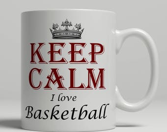 Love Basketball coffee mug, KEEP CALM basketball gift idea, basketball player, basketball player mug, basketball fan mug,  Keep Basketball
