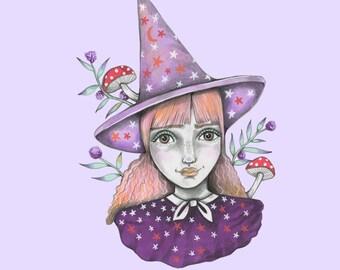 Purple Witch A5 print.