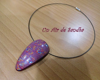 """""""Pink"""", polymer clay necklace mounted on cable Choker."""