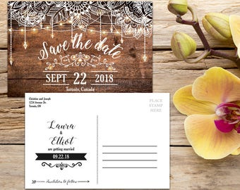 Save the Date Postcard template, Rustic Wedding, Country Wedding, Save the Date Template, Save the Date Card, Save-the-date
