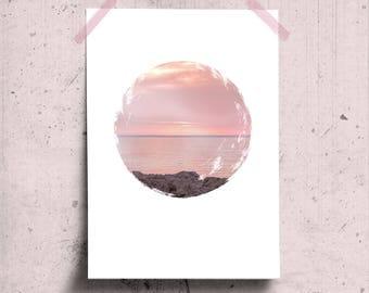 Minimalist Beach Decor Ocean Sunset Wall Art, Circle Art Poster, Sunset Beach Photo, White Space Wall Art, Blush Pink Circle Photo Print