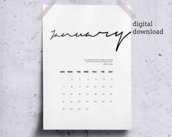 Printable January 2018 Wall Calendar, Literary Quote for Winter, January Calendar Page 2018 Desk Calendar, Minimalist Calendar Camus Quote