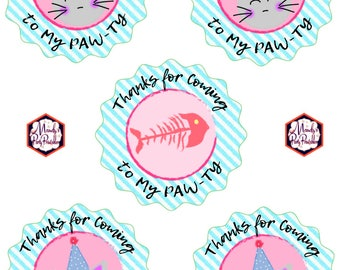 Kitty Cat Thank You Tags from Kitty Cat Birthday Party Printables