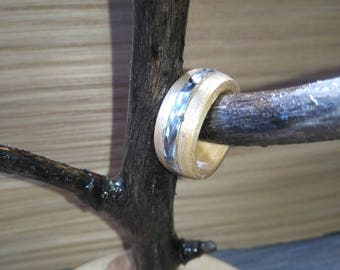 Steel Braid and Maple bent wood ring