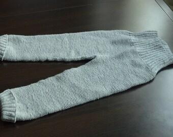Baby trousers. Merino wool hand knitted pants. Soft baby leggings. Gray hand knitt leg warmers. Pre-made