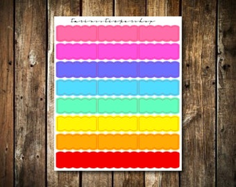 24 Multicolor Scallop Boxes - Fits Erin Condren Vertical & Happy Planner